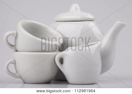 set of ceramic ware on a white background