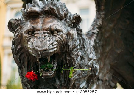 Winged Lion Memorial in Prague Czech Republic.