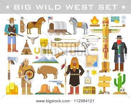 Wild West. Vector elements.
