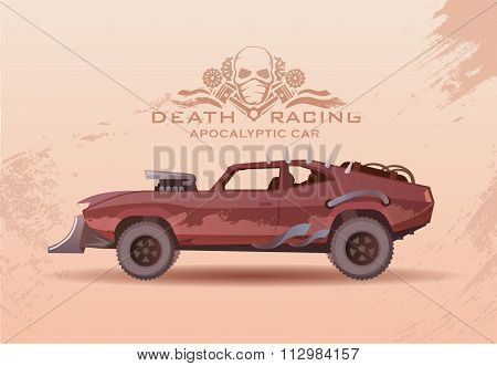 Concept post-Apocalypse car. Vector illustration.
