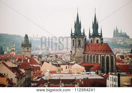 Cityscape of Prague, Czech Republic. Famous town hall, Church Of