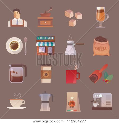 Vector icons. Drinks. Coffee.