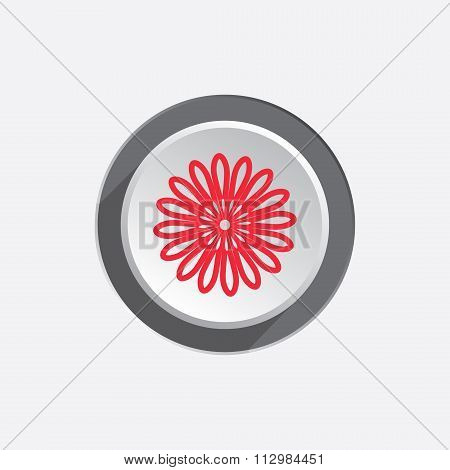Camomile flower icons. Floral chamomile symbol. Circle button with shadow. Vector
