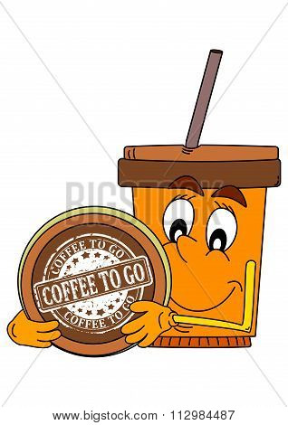 Smiling Cup Of Coffee With An Inscription On The Lid - Coffee To Go - Illustration