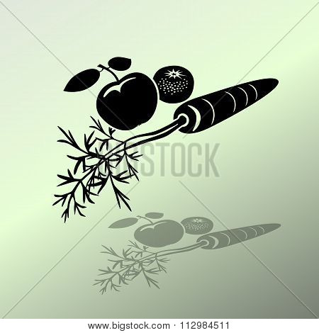 Carrot Mandarin Apple icons. Black silhouette with shadow on light green background. Flat design. Ve