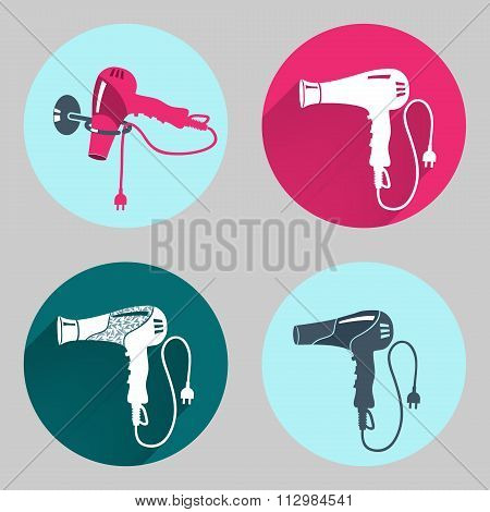 Hair-drier set. Professional blow hairdryer with two-pin plug. Modern colored sign on dark grey. Rou