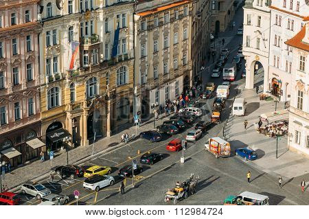 Traffic on the old square In Old Town Square in Prague, Czech Re