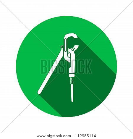 Screw wrench, pliers, adjustable spanner. Wrench key icon. Repair, fix, building tool symbol. Round