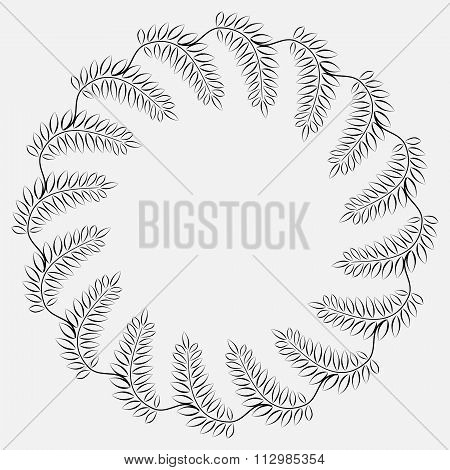 Laurel wreath cicle tattoo. Black stylized ornaments. Signs on white background.  Victory, peace, gl