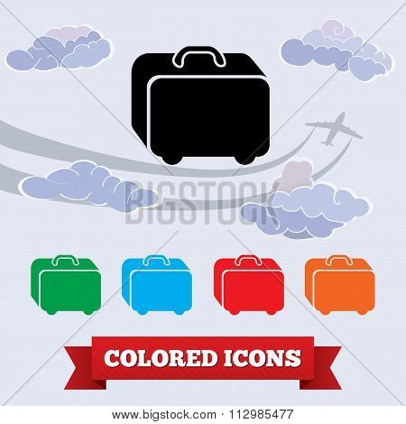Bag icon. Traveling luggage. Airport baggage info symbol. Black, red, green, blue, yellow colored si