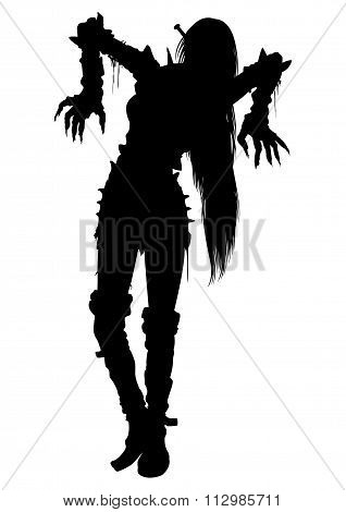 Zombie Girl Silhouette