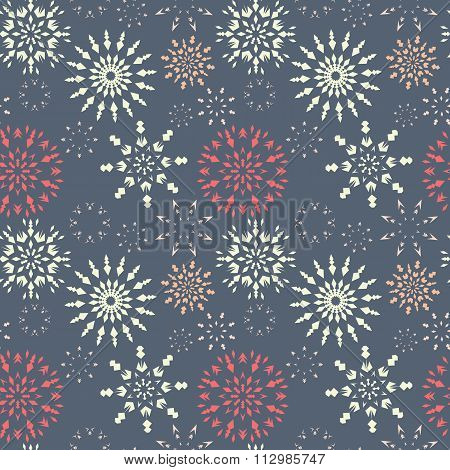 Christmas seamless pattern. Light color snowflake signs on soft gray background. Winter theme retro