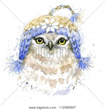 Cute owlT-shirt graphics, watercolor forest owl illustration