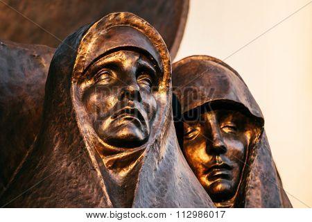 Afghan War Memorial On Island Of Tears or Ostrov Slyoz in Minsk, Belarus