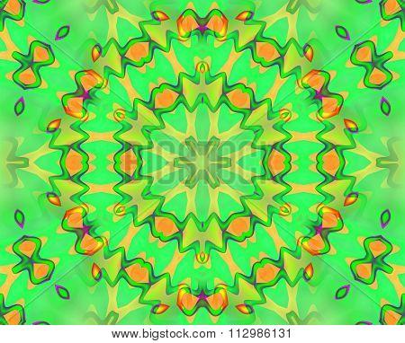 Seamless circle pattern green orange