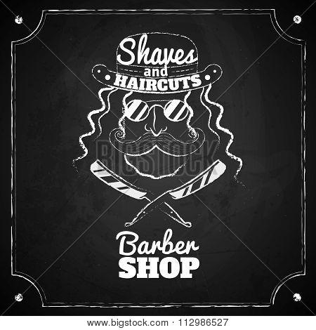 Barber glasses. Vector illlustration. Chalk board. Logo for barber shop.