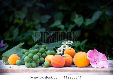Grapes, Apricot, Beautiful Flowers On Wooden Table