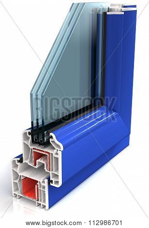 Section of the sample colored PVC windows  isolated on white