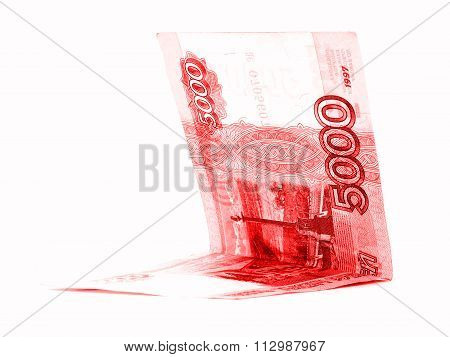 Red Russian Ruble Currency Folded Isolated On White Background