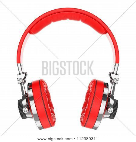 Red Hi-fi Professional Headphones Isolated On White Background 3D
