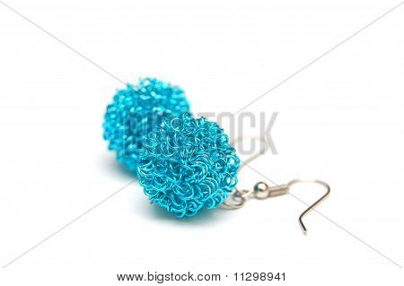 blue ball shaped earrings