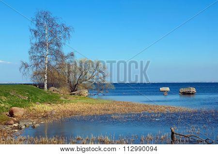 North Bay marine. Panorama of the horizon of water.