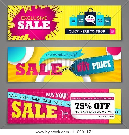 Sale banners design set