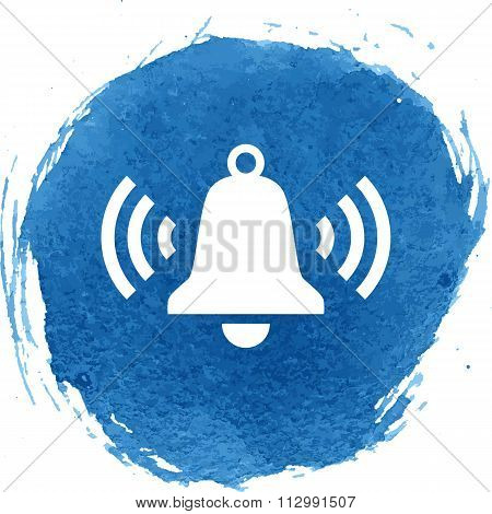 Ringing bell icon with watercolor effect