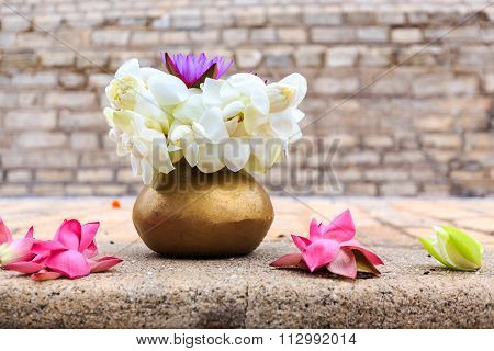 Lotus Flowers Offer At Buddhist Stupa