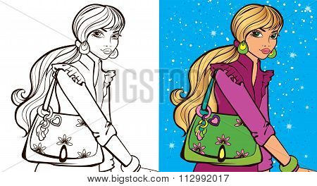 Colouring Book Of Girl With Bag