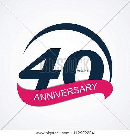 Template Logo 40 Anniversary Vector Illustration