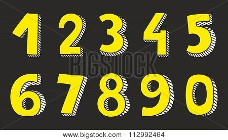 Yellow vector numbers isolated on black background