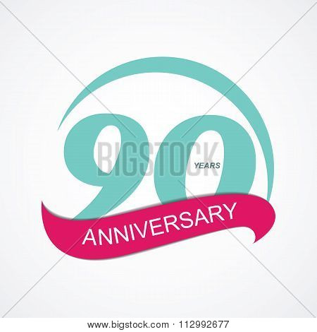 Template Logo 90 Anniversary Vector Illustration