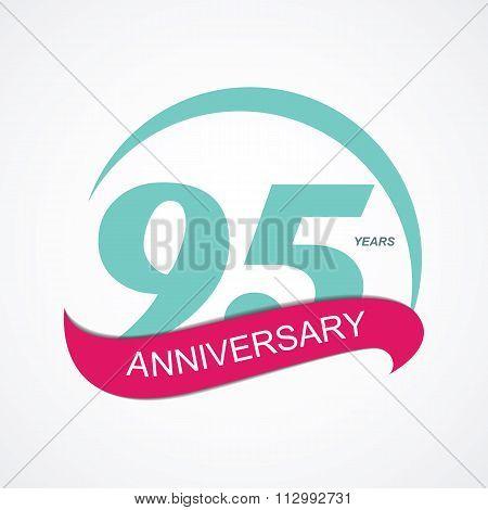 Template Logo 95 Anniversary Vector Illustration