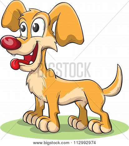 Yellow Cute Dog With Tongue Hanging Out