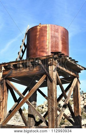 JOSHUA TREE, CALIFORNIA - JANUARY 1, 2016: Water Tower at Keys Ranch. The abandoned Ranch is in Joshua Tree National Park, visited only by ranger led tours.