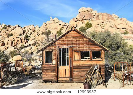 JOSHUA TREE, CALIFORNIA - JANUARY 1, 2016: Cabin at Keys Ranch. In Joshua Tree National Park, built by homesteader Bill Keys.