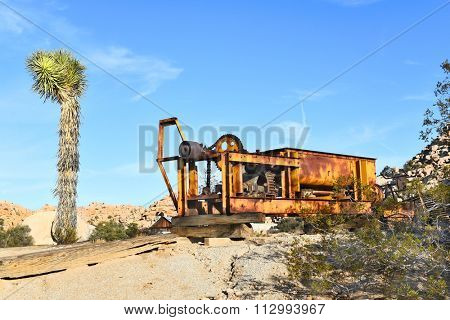 JOSHUA TREE, CALIFORNIA - JANUARY 1, 2016: Rusted Equipment at Keys Ranch. In Joshua Tree National Park, built by homesteader Bill Keys.