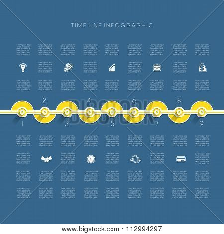 Timeline Infographic Nine Positions