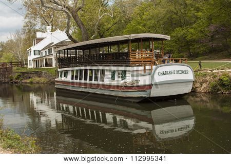 POTOMAC, MARYLAND, USA - APRIL 27, 2015: The mule-drawn replica of the Charles Mercer Canal Boat awaits the summer season at Great Falls National Park in Potomac, Maryland. V