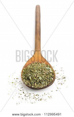 Dried Oregano On Wooden Spoon