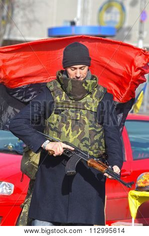 KIEV , UKRAINE - NOV 1, 2015. Flea market in downtown. Marauder sale civil war military items. November 1, 2015 in Kiev, Ukraine