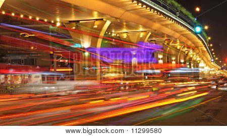 High-speed Vehicles On Urban Roads Under Overpass At Night