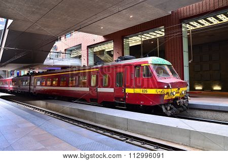 Antwerp, Belgium - May 11, 2015: Belgian Train In Antwerp Central Station