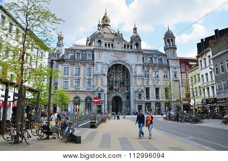 Antwerp, Belgium - May 11, 2015: People Around Antwerp Main Railway Station