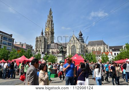 Antwerp, Belgium - May 10, 2015: Tourist Visit Thailand Festival At Groenplaats