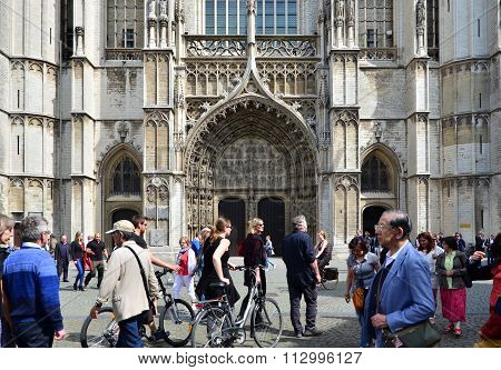 Antwerp, Belgium - May 10, 2015: Tourist Visit Cathedral Of Our Lady In Antwerp