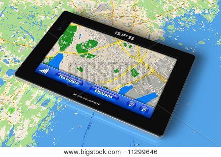 GPS navigator on map