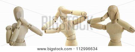 Wooden Figure No See Speak Hear Doll Concept