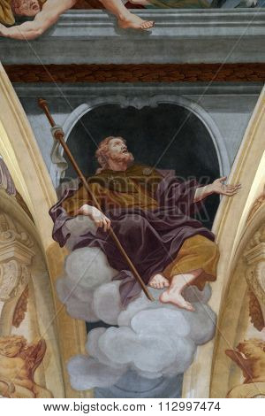LJUBLJANA, SLOVENIA - JUNE 30: Saint James the Apostle, fresco on the ceiling  of the Cathedral of St Nicholas in Ljubljana, Slovenia on June 30, 2015
